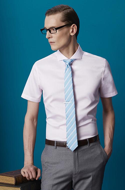 一字领男士衬衫